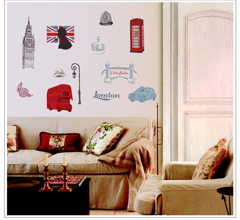 London home decor wall sticker bathroom kitchen decoration for Home decorations london