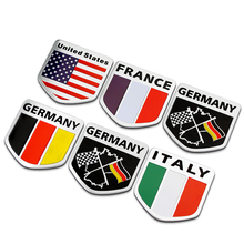 3D Aluminum Russia USA FRANCE GERMANY ITALY Flag car sticker accessories ford focus cruze kia rio skoda octavia VW honda - Mangrove co., LTD store