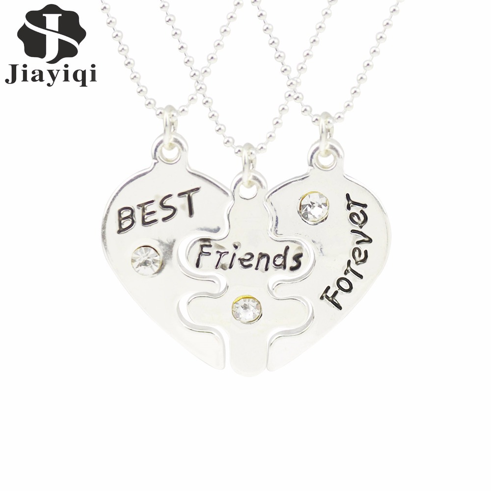 5PCS/lot 2015 Fashion Silver Plated Necklace Best Friend Forever Separation Pendants Heart Women Summer Fine Jewelry(China (Mainland))