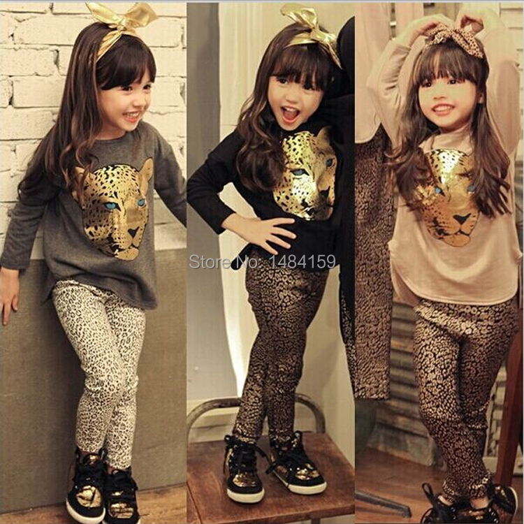 Retail 2015 New Girls Clothing Sets Baby Kids Clothes Children Clothing Full Sleeve T Shirt Leopard Legging , 2pc Set , 3 Color(China (Mainland))