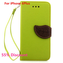 Phone Case for iPhone6 Plus Unique Litchi Style Leaf Design Cell Phone Accessory Cases Walllet Card Holder Design Cover Case(China (Mainland))