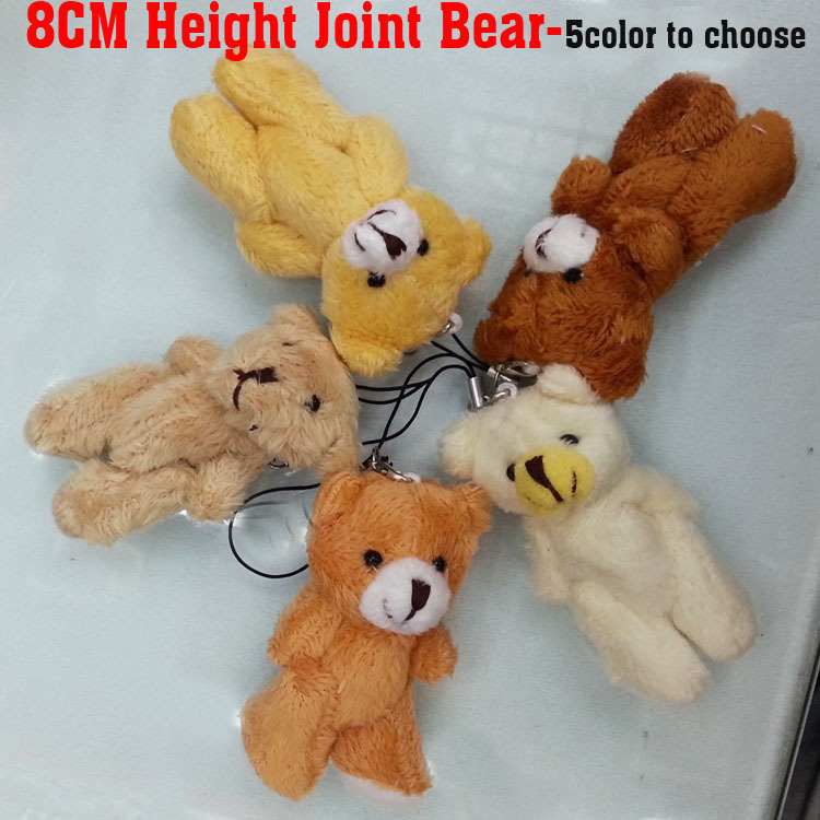 Retail 8cm Cartoon Long Wool Plush Mini Joint Bear Bare Teddy Bear For Key chain/Phone/Bag Stuffed Doll,5Color Mixed(China (Mainland))