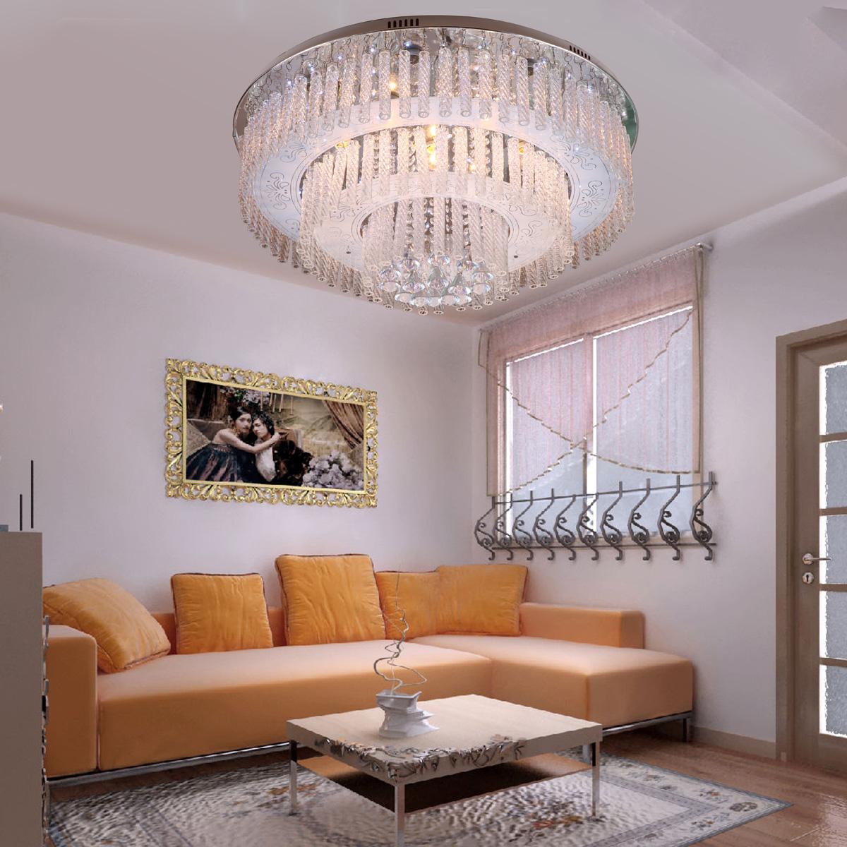 Flat Kitchen Ceiling Lights: Modern Brief Cake Type Crystal Ceiling Light Living Room