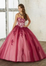 Buy Burgundy Shoulder Quinceanera Dress Ball Gown Sweetheart Appliques Bead Tull Quinceanera Gown Vestidos de 15 anos QX8 for $157.24 in AliExpress store