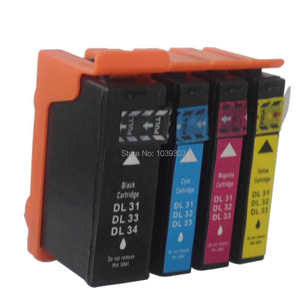 4 Color Compatible ink Catridges For Dell Cartridge 31 32 33 34 for Dell Printer V525W V725W inkjet Ink(China (Mainland))