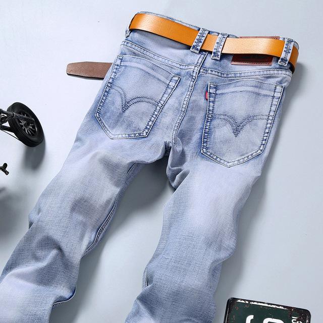 Новая Мода 2016 известный бренд мужчин джинсы Летние джинсы свет цвет тонкие джинсы ...