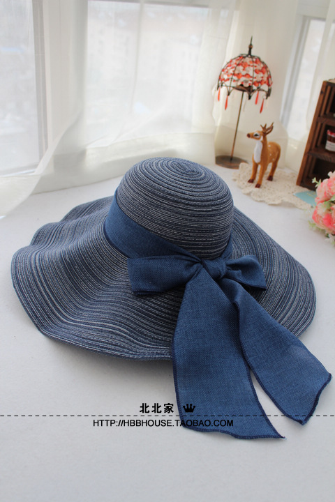 Free shipping Hat women's summer sunbonnet fluid bow large brim strawhat beach hat folding(China (Mainland))