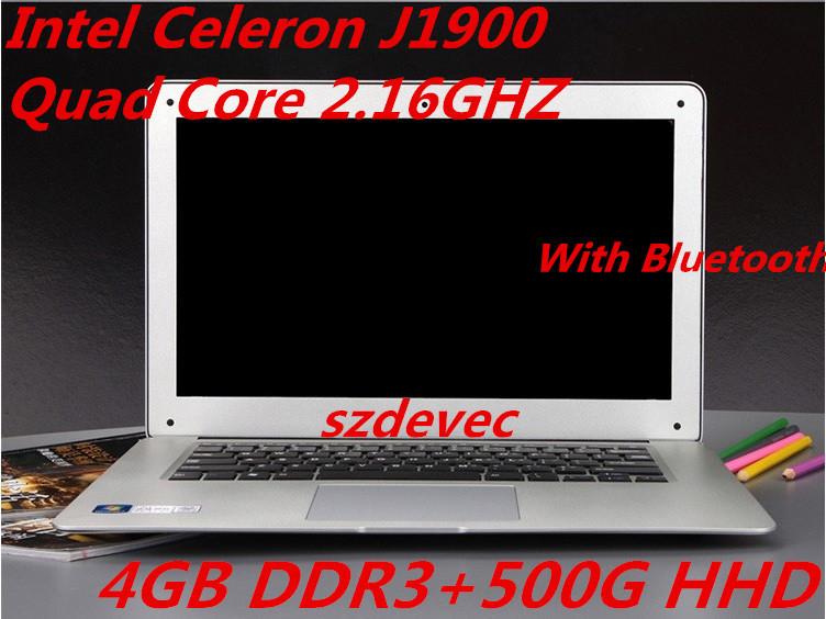 14.1 Inch PC Laptop Computer Intel Celeron J1900 Dual Core 2.0GHz 4GB DDR3 500GB HDD Windows7/8 Slim Notebook Wifi HDMI USB 3.0(China (Mainland))