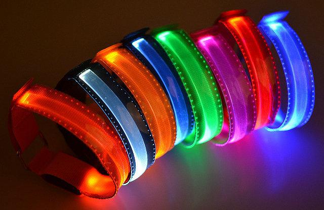 7 colors High Bright Led Flashing Armband Safety Arm Band Nylon Wrist Strap for Running Warning Night Party Activity Cheer(China (Mainland))