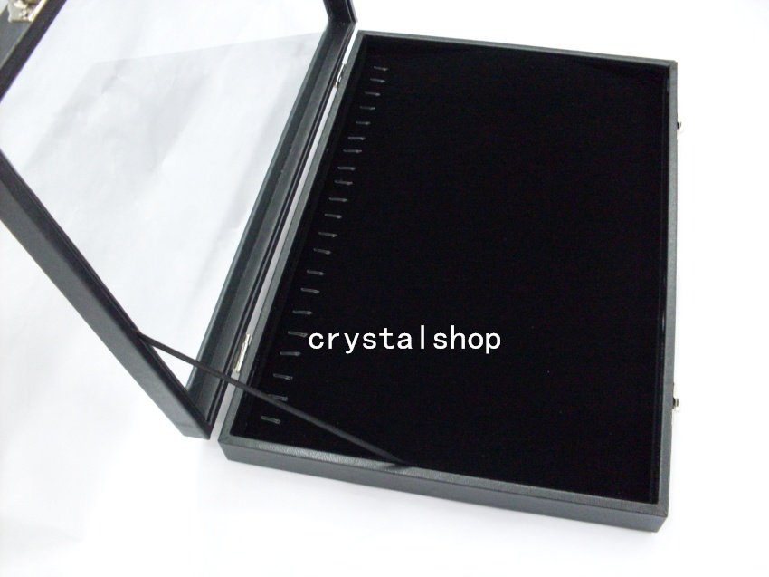 2 BLACK NECKLACE BRACELET DISPLAY CASE BOX TRAY SHOWCASE STAND - crystalshop jewelry packaging store