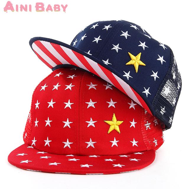 Пятизвездочный сетки дизайн ребенок Snapback малыш хип-хоп крышка для мальчика Hat ...