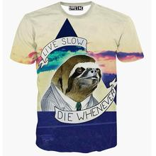 New fashion 3D tshirt Sloth Motto t shirt slow die whenever animal brand design clothes women 3d t-shirt tee tops(China (Mainland))