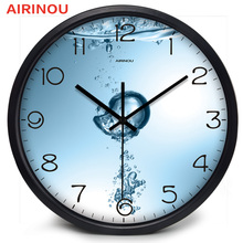 Airinou Pure Water And Air Cause Bubble Glass Metal Living room, Bathroom Wall Clock ,save Water Protection Or Water Production(China (Mainland))