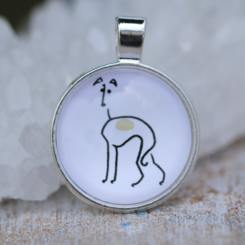 M21028 Greyhound Pendant Necklace Dog Rescue Animal Shape Gold Filled Trendy Glass Bezel Jewelry Memorial Gift 1Pc/Lot Drop Ship(China (Mainland))