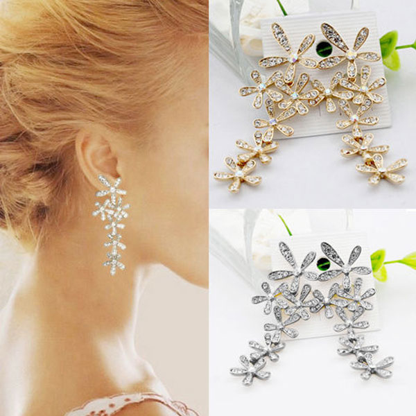 Women New Fashion Engagement Wedding Rhinestone Crystal Long Snowflake Flower Dangle Drop Tassel Earrings Gold Silver Plated - Vivian's Store store