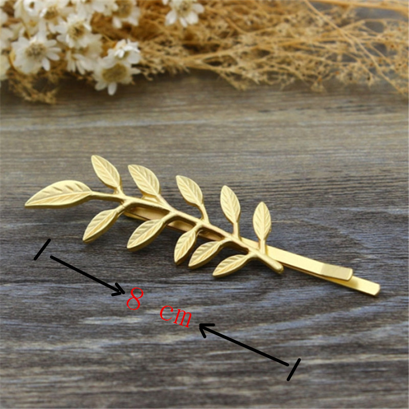 Vintage Cute Gold-plated Barrettes Hairgrips Customized Branch & Leaf Hair Side Tighten Clips Pins Style Women Fashion Jewelry(China (Mainland))