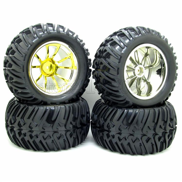 4PCS 128mm RC 1/10 Monster Truck Bigfoot Tires Tyre &12mm HEX Yellow Wheel Rim Hub(China (Mainland))