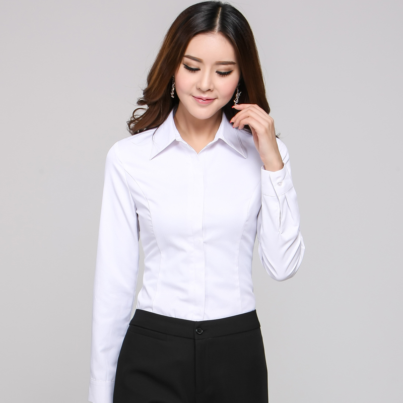 Simple Women039sFormalCottonShirtOfficeUniformOLWorkVNeckBlouse