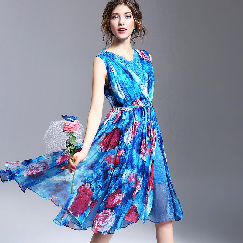 2016 Spring Summer New Europe Fashion Women Clothing Summer Style Boho Style Dress Sleeveless 100% Silk Printed Q7410(China (Mainland))