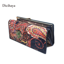 Genuine Leather Women Wallet Long Purse Vintage Solid Cowhide multiple Cards Holder Clutch Fashion Standard Wallet clutch clasp(China (Mainland))