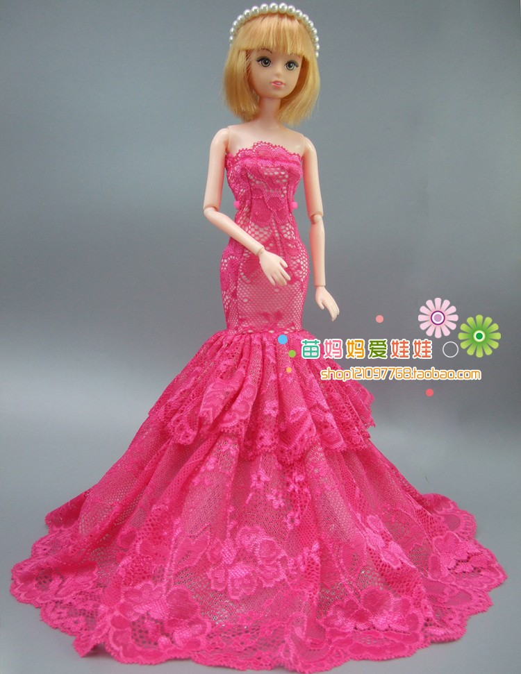 new arrvial assortment Luxurious purple rose fishtail night gown for barbie doll for Style royalty FR doll gown