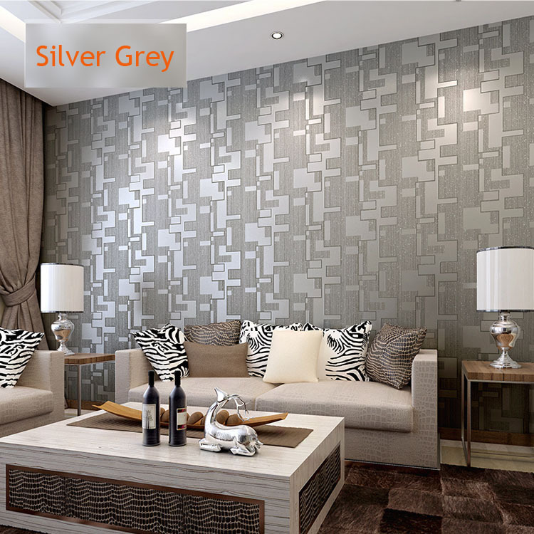 Silver living room walls images Grey wallpaper living room