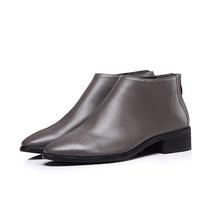 MLJUESE 2018 kadın yarım çizmeler inek deri gri renk düşük topuk sonbahar bahar kahverengi renk kadın botları boyutu 33-43(China)