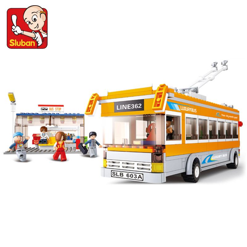 Without Original Box SLUBAN Trolley buses 457 pcs learn & education DIY enlighten building blocks sets for child's toy(China (Mainland))