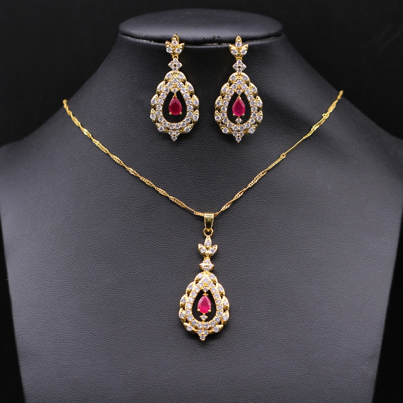Fashion Jewelry Sets 24k Yellow Gold Plated Red Ruby AAA Zircon Pendant Necklace Stud Earrings Set For Women<br><br>Aliexpress