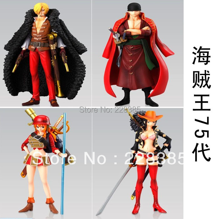 Free Shipping Janpanese Anime Cartoon One pieces PVC Action & toy figures Dolls Zoro Sanji Nami Robin Model Collections(China (Mainland))