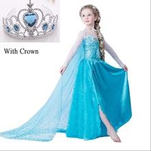 2016 meninas vestido Elsa e Anna Vestido Cosplay Costume Traje Da Princesa para Crianças vestido de festa Meninas de Verão vestindo