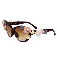 Fashion Oversized Women s Girls Sunglasses Retro Decor Floral Flower UV Glasses