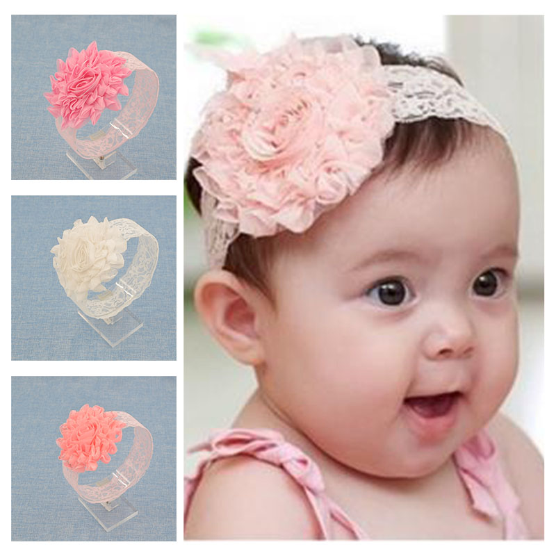 NEW Baby Girls Floral Headband chiffon big Flower lace Hairband Infant Hair Weave Band kids Accessories Gifts Stock(China (Mainland))