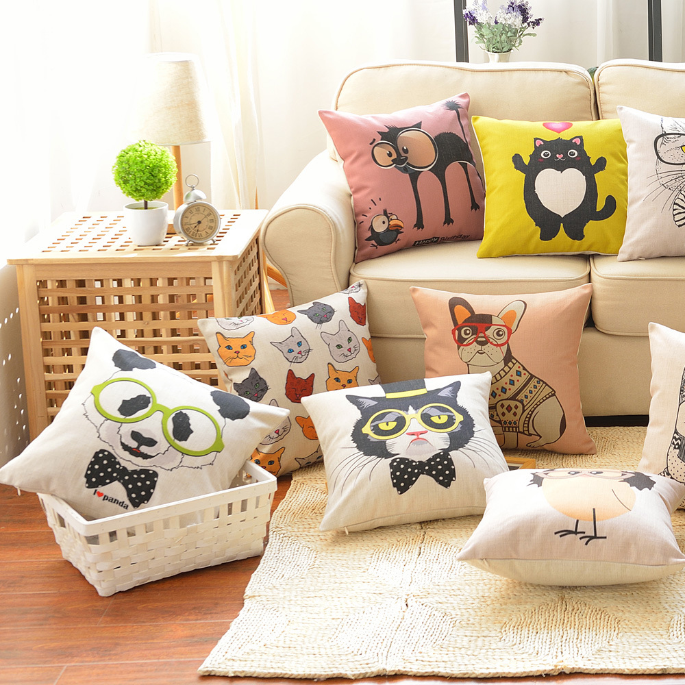 45cm Cat Wear Glasses Fashion Cotton Linen Fabric Throw Pillow Hot Sale 18 Inch New Home Decor Sofa Car Cushion Office Nap FR