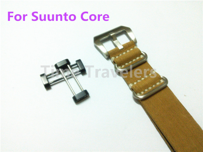 For Suunto Core Watch Band 24MM Yellow Nato Drawing Leather+Silver Stainless Buckle+Adapters+Lugs Free Shipping - 188(China (Mainland))
