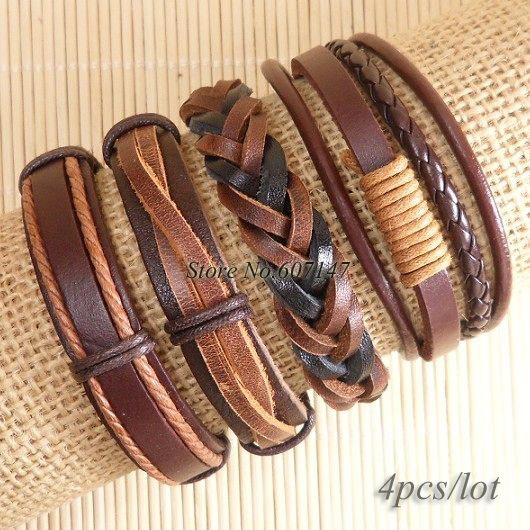 Free shipping  Wholesale (4pcs/lot) Vintage jewelry  Multilayer Weave Wrap Hemp&amp;Genuine leather bracelet for men &amp; women-S143<br><br>Aliexpress