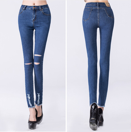 Free Shipping Ripped Jeans Woman 2015 Spring Korean Style Fashion Slim Hole Denim High Waist