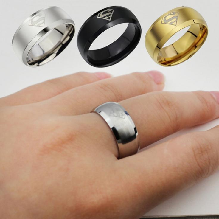 Jewelry Simple Men Ring Superman Logo Finger Rings 3 Colors Fashion RING-010931(China (Mainland))