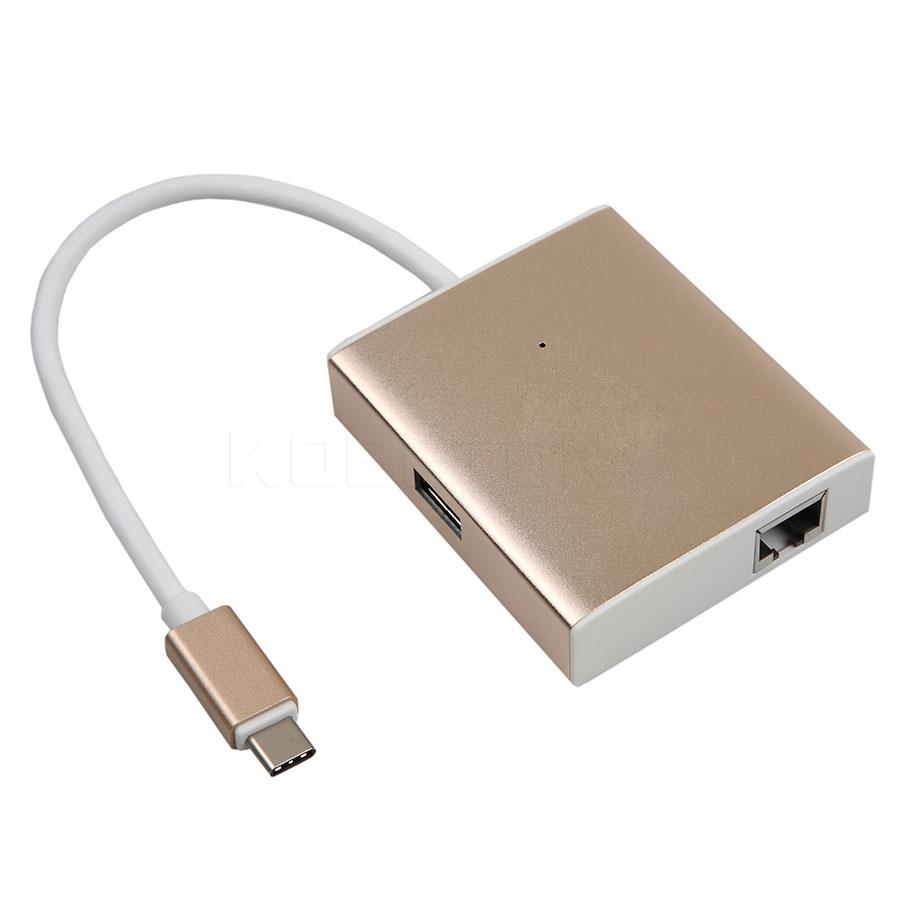 NEW 2 USB Port 3.0 Hub Type-C to Lan Card Gigabit Ethernet Adapter Type C USB HUB for Macbook 12'' High speed(China (Mainland))