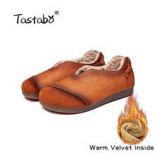 Tastabo Da Chính Hãng Phẳng Giày mùa đông len bên trong ấm áp Phụ Nữ Giày Nữ Giày Da Đanh Thời Trang Phụ Nữ Căn Hộ lông thú thật Giày(China)