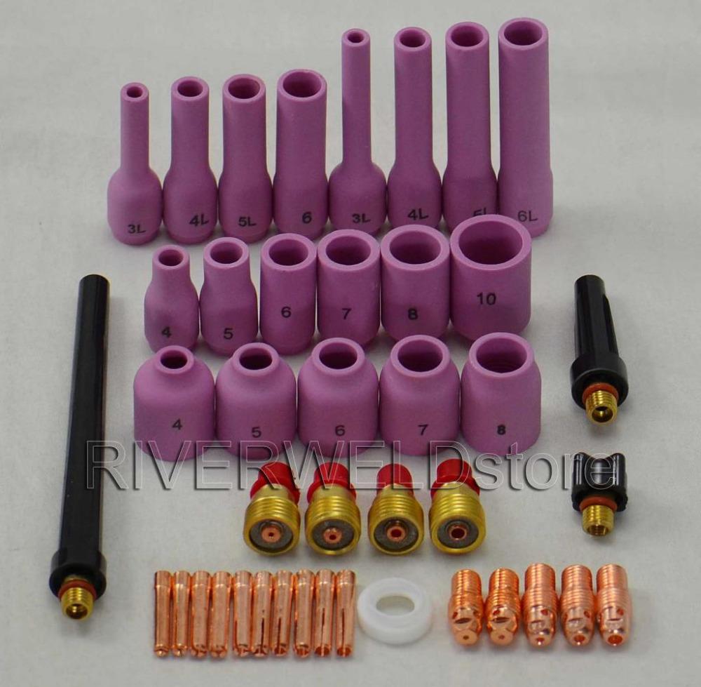 TIG Gas Lens KIT,Back Cap Collet Body Fit TIG Welding Torch SR WP9 20 25,42PK(China (Mainland))