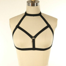 Hot sale pastel goth women fetish collar O ring chest body harness bra Cage Harness bralette sexy bondage lingerie Top retail