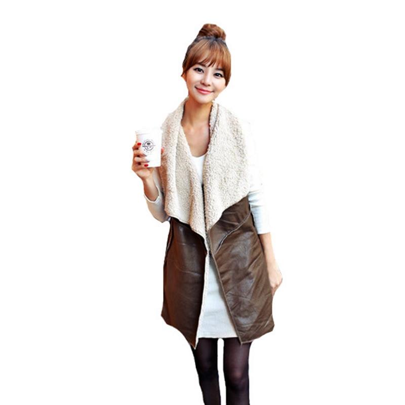 Горячая распродажа 2015 женщин зимы леди досуг мода теплый искусственного меха воротник жилет длинный кожаный жилет верхняя одежда браун