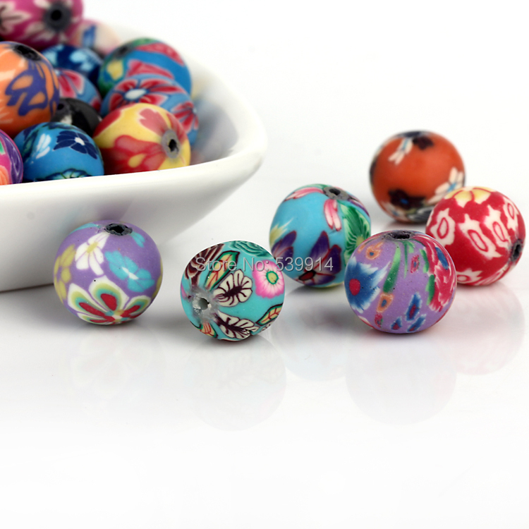 Free Shipping 12*2MM Mixed Assorted OVAL Fimo Polymer Clay Beads Flower CHARMS Beads Fit Diy Bead Bracelet 150pcs/lot