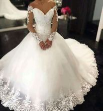 Buy Vestido De Noiva Lace Bridal Dresses 2017 V Neck Long Sleeve Court Train Applique 2016 Ball Gowns Wedding Dress Gowns for $189.05 in AliExpress store