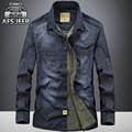 High quality 2017 men s leisure lapel jean slim 100 cotton fashion solid long sleeve jeep