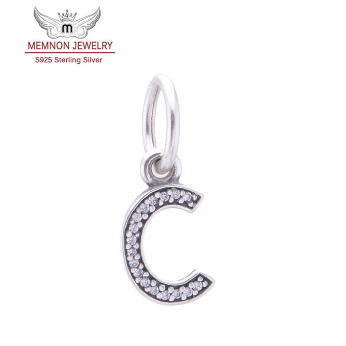 925 sterling silver jewelry Letter C charms fit bracelet & necklace Diy assessories pendants for jewelry making wholesale LE13C(China (Mainland))