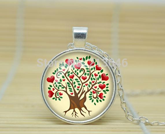 1pcs Heart Tree pendant Love Tree necklace Heart Tree of life jewelry nature pendant Woodland Glass Cabochon Necklace A1000(China (Mainland))