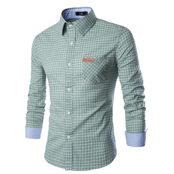 Hot Sale 2016 New Arrivals Fashion Shirt for Men High Quality Long Sleeve Spring Soft Classic Plaid Casual Male 2XL Dress shirt(China (Mainland))