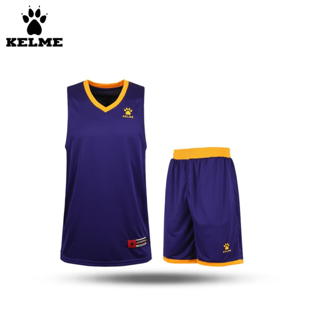 Kelme K15Z104 Men V-Neck Polyester Basketball Mesh Training Vest Suit Purple Yellow(China (Mainland))